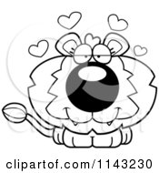 Cartoon Clipart Of A Black And White Cute Loving Lion Vector Outlined Coloring Page