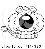 Cartoon Clipart Of A Black And White Cute Mad Lion Vector Outlined Coloring Page