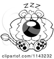 Cartoon Clipart Of A Black And White Cute Dumb Lion Vector Outlined Coloring Page