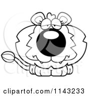 Cartoon Clipart Of A Black And White Cute Depressed Lion Vector Outlined Coloring Page