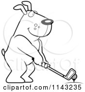 Cartoon Clipart Of A Black And White Golfing Dog Holding The Club Against The Ball On The Tee Vector Outlined Coloring Page by Cory Thoman