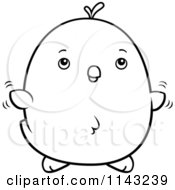 Cartoon Clipart Of A Black And White Chubby Chicken Chick Flying Vector Outlined Coloring Page