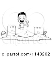 Cartoon Clipart Of A Black And White Happy Summer Boy Building A Sand Castle Vector Outlined Coloring Page by Cory Thoman