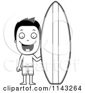 Cartoon Clipart Of A Black And White Happy Summer Boy By A Surfboard Vector Outlined Coloring Page