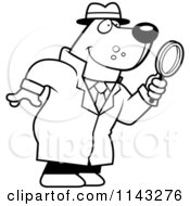 Cartoon Clipart Of A Black And White Bear Detective Using A Magnifying Glass Vector Outlined Coloring Page