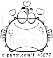 Cartoon Clipart Of A Black And White Chubby Infatuated Blowfish Vector Outlined Coloring Page