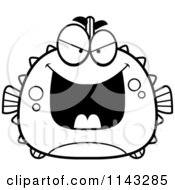 Cartoon Clipart Of A Black And White Chubby Evil Blowfish Vector Outlined Coloring Page