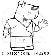 Cartoon Clipart Of A Black And White Dog Surgeon Doctor In Scrubs Vector Outlined Coloring Page