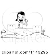 Cartoon Clipart Of A Black And White Summer Girl Building A Sand Castle Vector Outlined Coloring Page by Cory Thoman