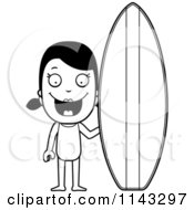 Cartoon Clipart Of A Black And White Summer Girl With A Surf Board Vector Outlined Coloring Page
