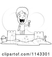 Cartoon Clipart Of A Black And White Senior Granny Woman Building A Sand Castle Vector Outlined Coloring Page by Cory Thoman