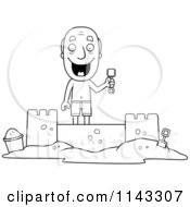 Cartoon Clipart Of A Black And White Summer Grandpa Building A Sand Castle Vector Outlined Coloring Page by Cory Thoman