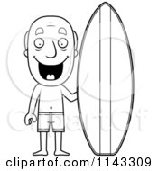 Cartoon Clipart Of A Black And White Summer Grandpa With A Surf Board Vector Outlined Coloring Page by Cory Thoman