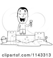 Cartoon Clipart Of A Black And White Summer Man Building A Sand Castle Vector Outlined Coloring Page by Cory Thoman