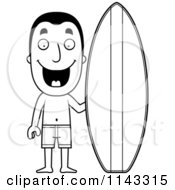 Cartoon Clipart Of A Black And White Summer Man With A Surf Board Vector Outlined Coloring Page by Cory Thoman