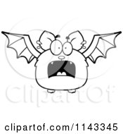 Cartoon Clipart Of A Black And White Scared Bat Vector Outlined Coloring Page