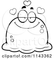 Cartoon Clipart Of A Black And White Pudgy Infatuated Blob Vector Outlined Coloring Page