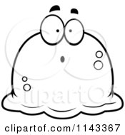 Cartoon Clipart Of A Black And White Pudgy Surprised Blob Vector Outlined Coloring Page