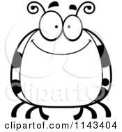 Cartoon Clipart Of A Black And White Chubby Smiling Ladybug Vector Outlined Coloring Page