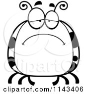 Cartoon Clipart Of A Black And White Chubby Sad Ladybug Vector Outlined Coloring Page