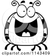 Cartoon Clipart Of A Black And White Chubby Grinning Ladybug Vector Outlined Coloring Page