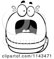 Cartoon Clipart Of A Black And White Chubby Scared Worm Vector Outlined Coloring Page