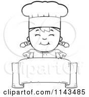 Cartoon Clipart Of A Black And White Happy Chef Girl Over A Blank Banner Vector Outlined Coloring Page