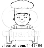 Cartoon Clipart Of A Black And White Happy Chef Boy Over A Blank Banner Vector Outlined Coloring Page