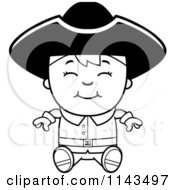 Cartoon Clipart Of A Black And White Colonial Boy Sitting And Smiling Vector Outlined Coloring Page
