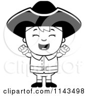 Cartoon Clipart Of A Black And White Colonial Boy Cheering Vector Outlined Coloring Page