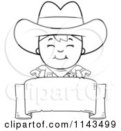 Cartoon Clipart Of A Black And White Happy Sheriff Cowboy Kid Over A Blank Banner Vector Outlined Coloring Page
