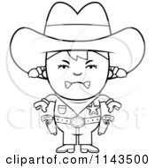 Cartoon Clipart Of A Black And White Mad Sheriff Cowgirl Kid Vector Outlined Coloring Page