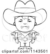 Cartoon Clipart Of A Black And White Mad Sheriff Cowboy Kid Vector Outlined Coloring Page