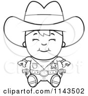 Cartoon Clipart Of A Black And White Happy Sheriff Cowboy Kid Sitting Vector Outlined Coloring Page