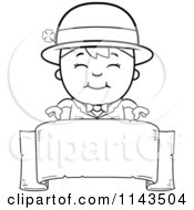 Cartoon Clipart Of A Black And White Happy Child Leprechaun Boy Over A Banner Vector Outlined Coloring Page