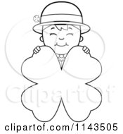 Cartoon Clipart Of A Black And White Child Leprechaun Boy Behind A Four Leaf Clover Vector Outlined Coloring Page