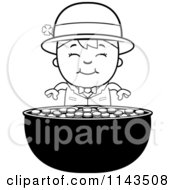 Cartoon Clipart Of A Black And White Child Leprechaun Boy And Pot Of Gold Vector Outlined Coloring Page