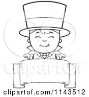 Cartoon Clipart Of A Black And White Happy Magician Boy Over A Blank Banner Vector Outlined Coloring Page