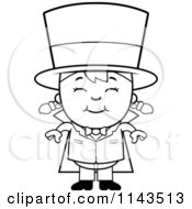 Cartoon Clipart Of A Black And White Happy Magician Girl Smiling Vector Outlined Coloring Page