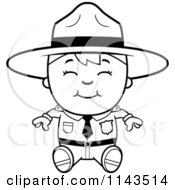 Cartoon Clipart Of A Black And White Happy Forest Ranger Boy Sitting Vector Outlined Coloring Page