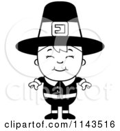 Cartoon Clipart Of A Black And White Happy Pilgrim Boy Vector Outlined Coloring Page