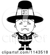 Cartoon Clipart Of A Black And White Mad Pilgrim Boy Vector Outlined Coloring Page