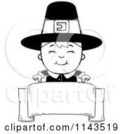 Cartoon Clipart Of A Black And White Happy Pilgrim Boy Over A Blank Banner Vector Outlined Coloring Page