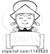 Cartoon Clipart Of A Black And White Happy Pilgrim Girl Over A Blank Banner Vector Outlined Coloring Page