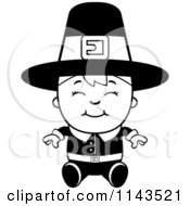 Cartoon Clipart Of A Black And White Happy Pilgrim Boy Sitting Vector Outlined Coloring Page