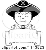 Cartoon Clipart Of A Black And White Happy Pirate Boy Over A Blank Banner Vector Outlined Coloring Page