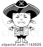 Cartoon Clipart Of A Black And White Mad Pirate Girl Vector Outlined Coloring Page