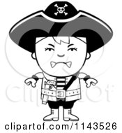 Cartoon Clipart Of A Black And White Mad Pirate Boy Vector Outlined Coloring Page
