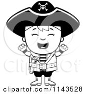 Cartoon Clipart Of A Black And White Happy Pirate Boy Cheering Vector Outlined Coloring Page