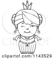 Cartoon Clipart Of A Black And White Cute Princess Girl Vector Outlined Coloring Page